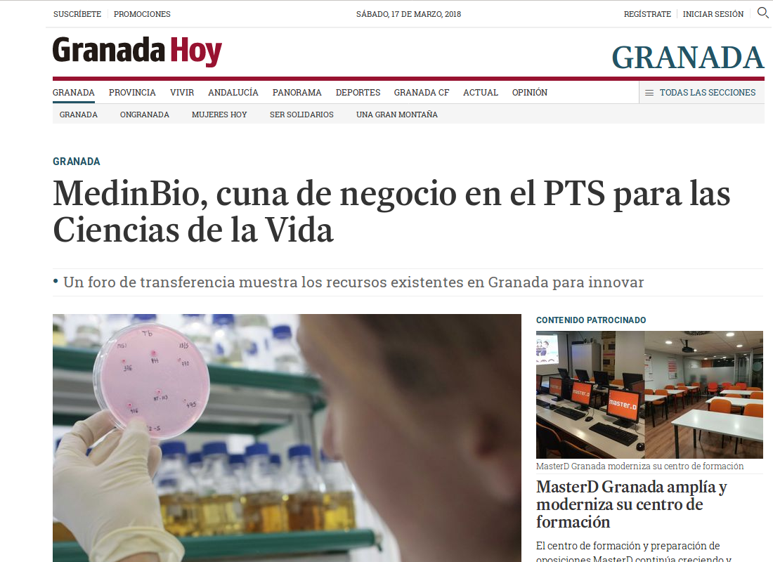 GranadaHoy: MedInBio, cradle of business in the PTS for Life Sciences field